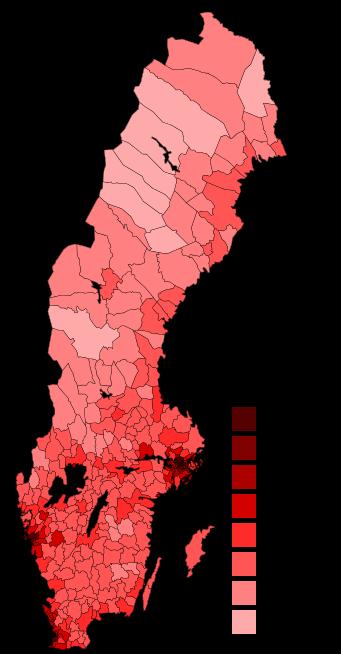Плотность населения в Швеции