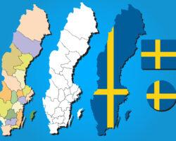 Население, площадь и плотность населения ленов и коммун Швеции